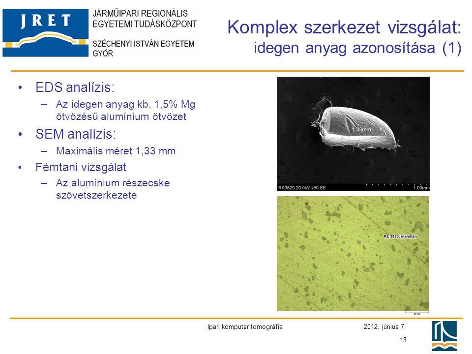 Komplex szerkezet vizsgálat: idegen anyag azonosítása (1)