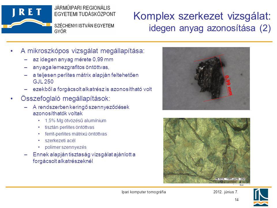 Komplex szerkezet vizsgálat: idegen anyag azonosítása (2)