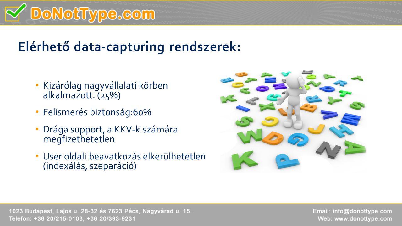 Elérhető data-capturing rendszerek: