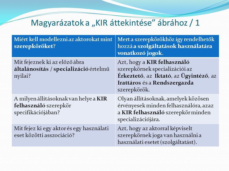 """Magyarázatok a """"KIR áttekintése ábrához / 1"""