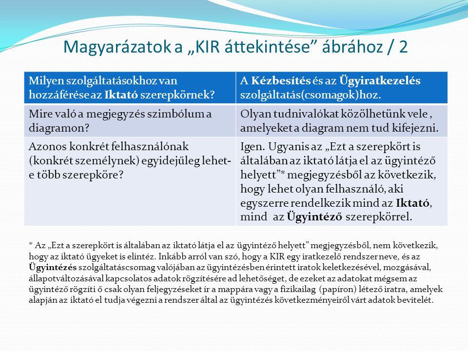 """Magyarázatok a """"KIR áttekintése ábrához / 2"""