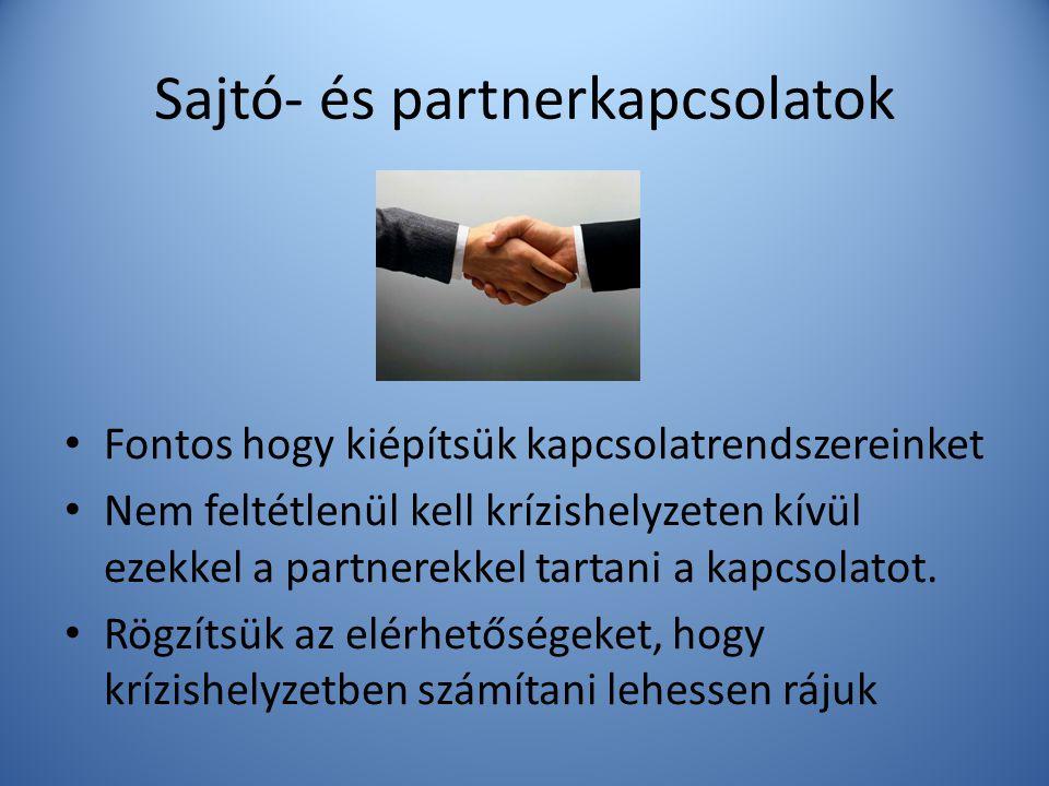 Sajtó- és partnerkapcsolatok