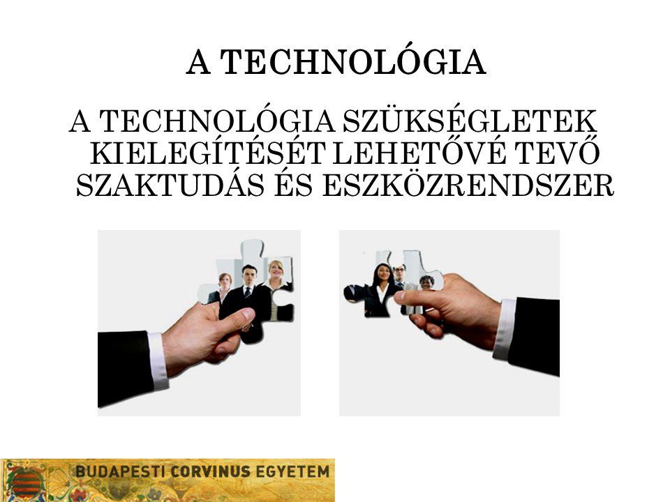 A TECHNOLÓGIA A TECHNOLÓGIA SZÜKSÉGLETEK KIELEGÍTÉSÉT LEHETŐVÉ TEVŐ SZAKTUDÁS ÉS ESZKÖZRENDSZER