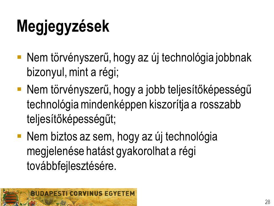 Megjegyzések Nem törvényszerű, hogy az új technológia jobbnak bizonyul, mint a régi;
