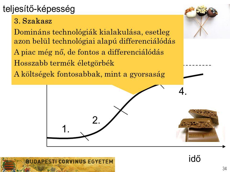 3. Szakasz Domináns technológiák kialakulása, esetleg azon belül technológiai alapú differenciálódás.