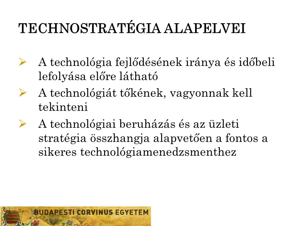 TECHNOSTRATÉGIA ALAPELVEI