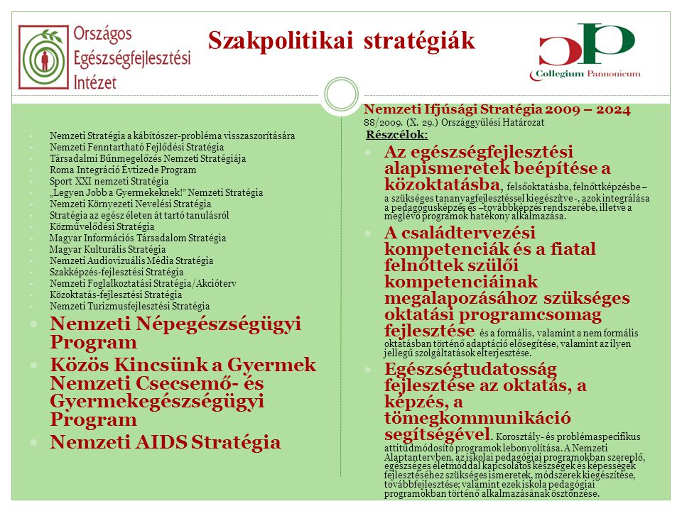 Szakpolitikai stratégiák