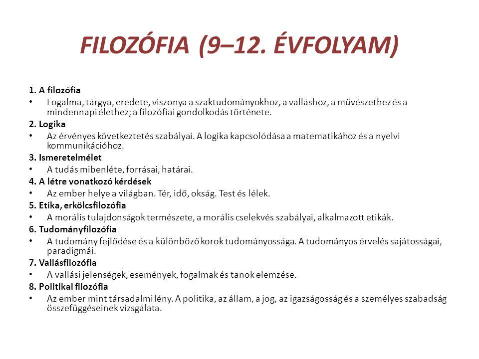FILOZÓFIA (9–12. ÉVFOLYAM)