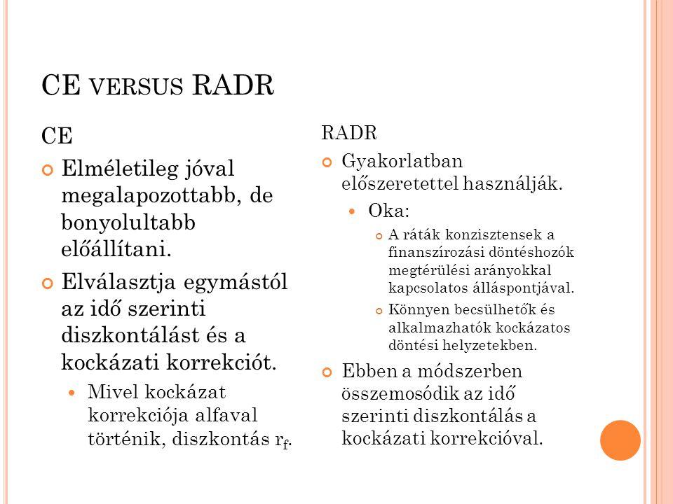 CE versus RADR CE. Elméletileg jóval megalapozottabb, de bonyolultabb előállítani.
