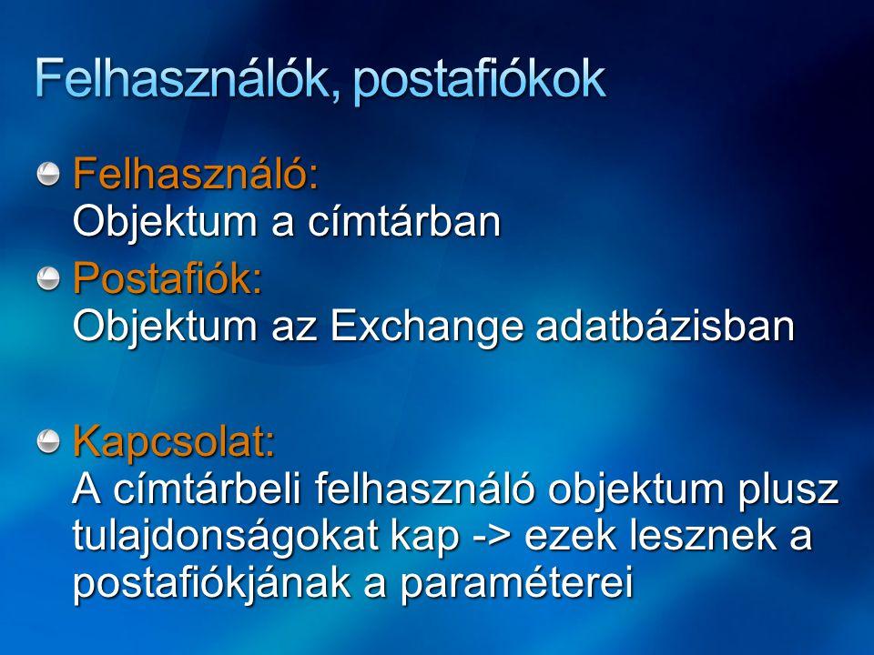 Felhasználók, postafiókok