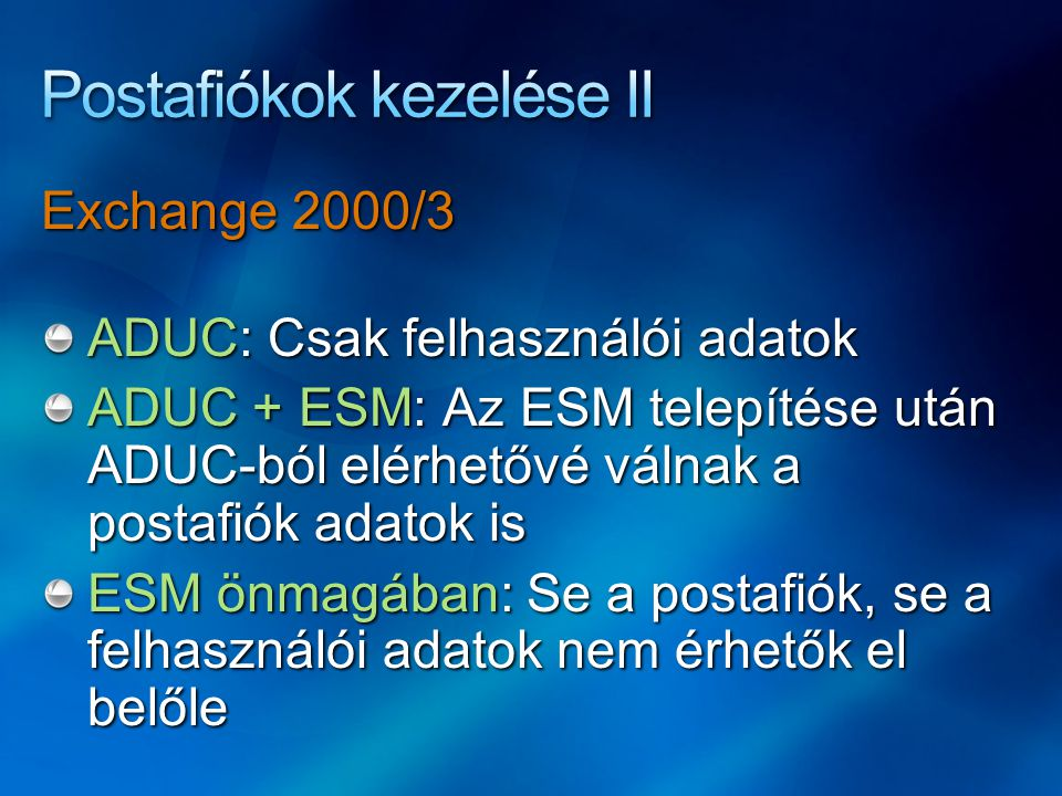 Postafiókok kezelése II