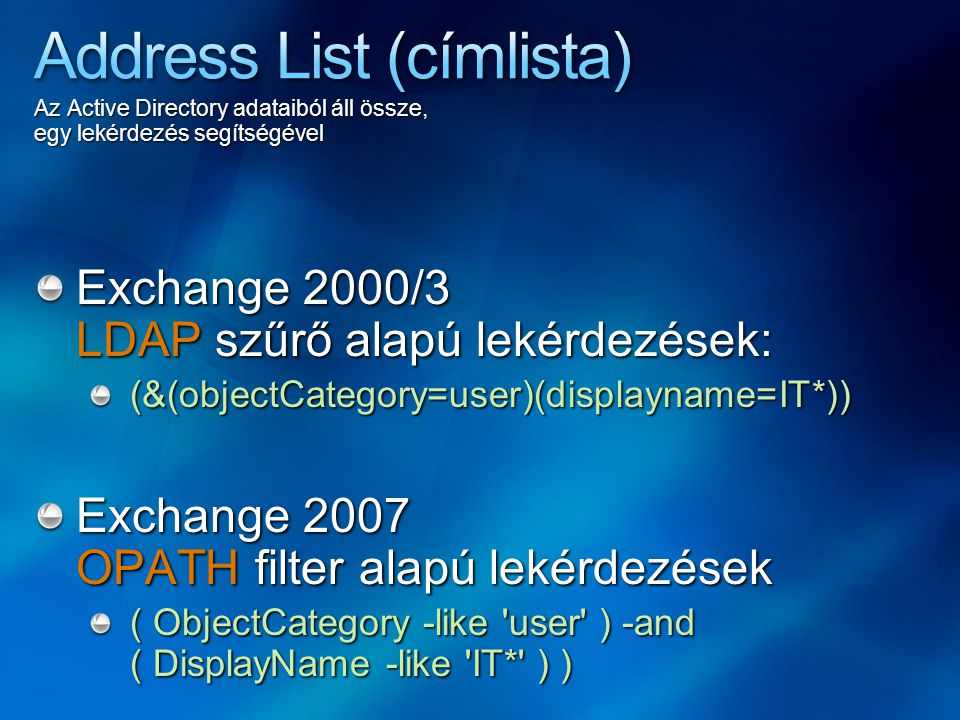 Address List (címlista)