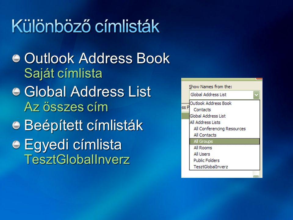 Különböző címlisták Outlook Address Book Saját címlista