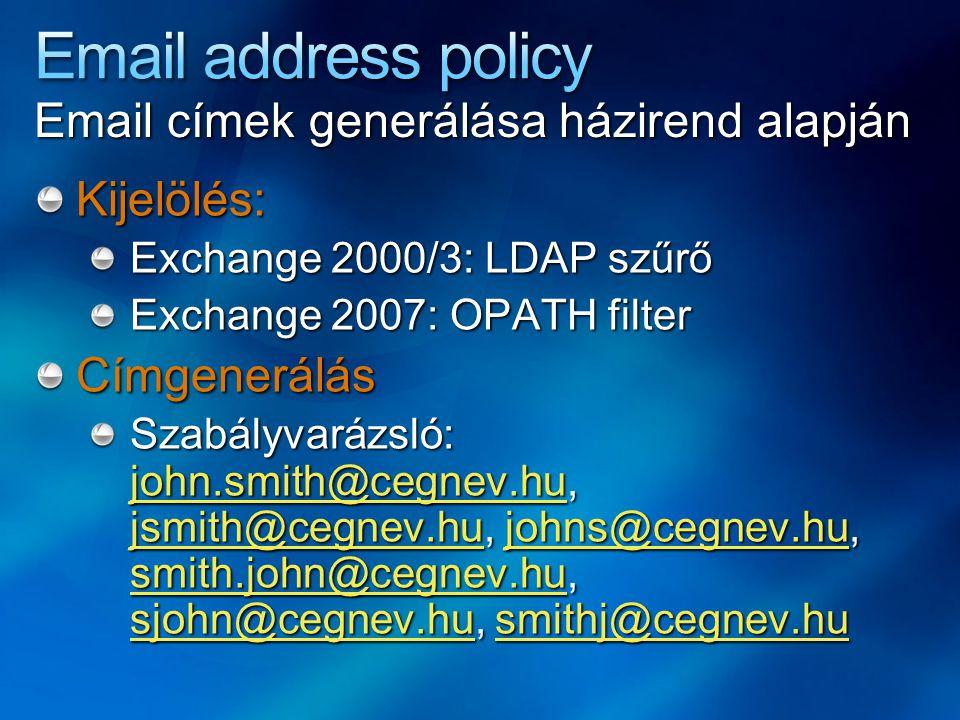 Email address policy Email címek generálása házirend alapján