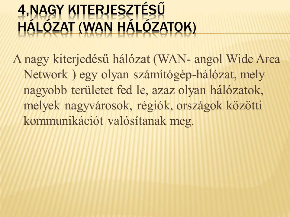 4,Nagy kiterjesztésű hálózat (WAN hálózatok)