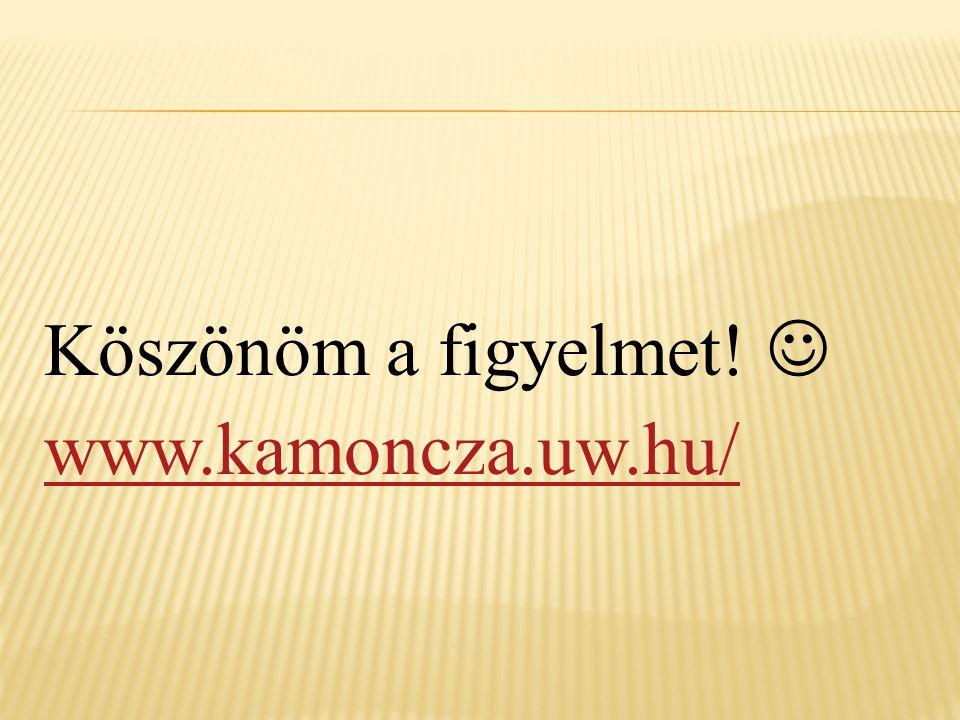 Köszönöm a figyelmet!  www.kamoncza.uw.hu/