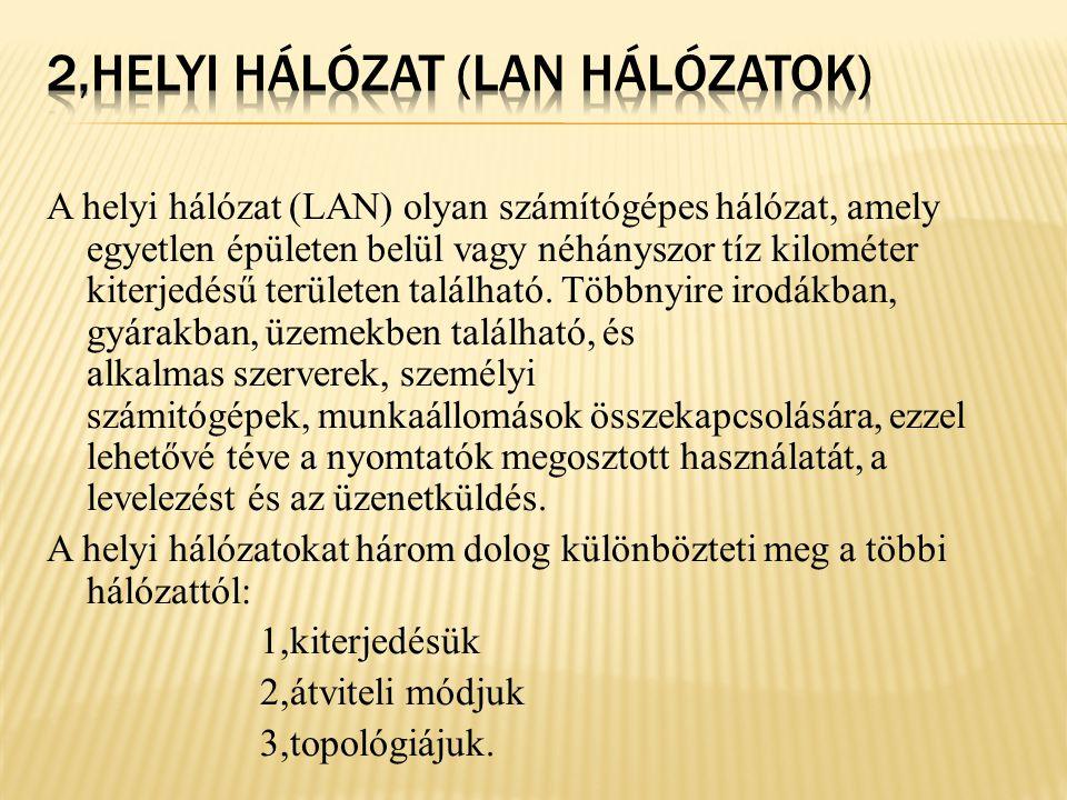 2,Helyi hálózat (LAN hálózatok)
