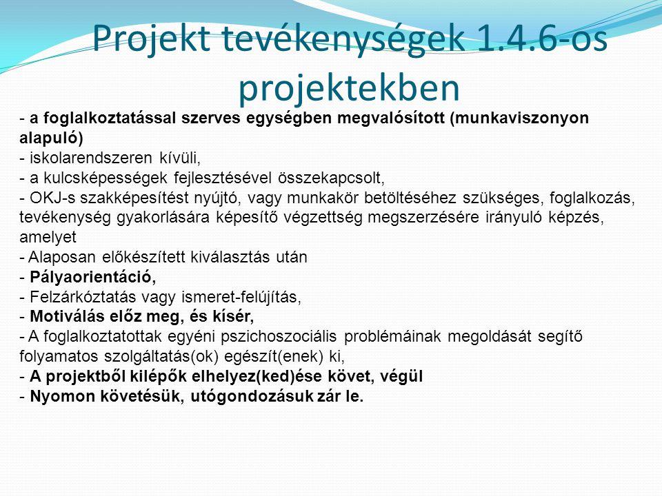 Projekt tevékenységek 1.4.6-os projektekben