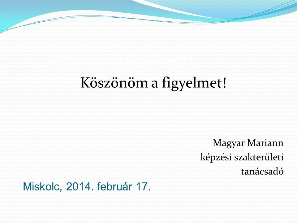 Köszönöm a figyelmet! Köszönöm a figyelmet! Miskolc, 2014. február 17.