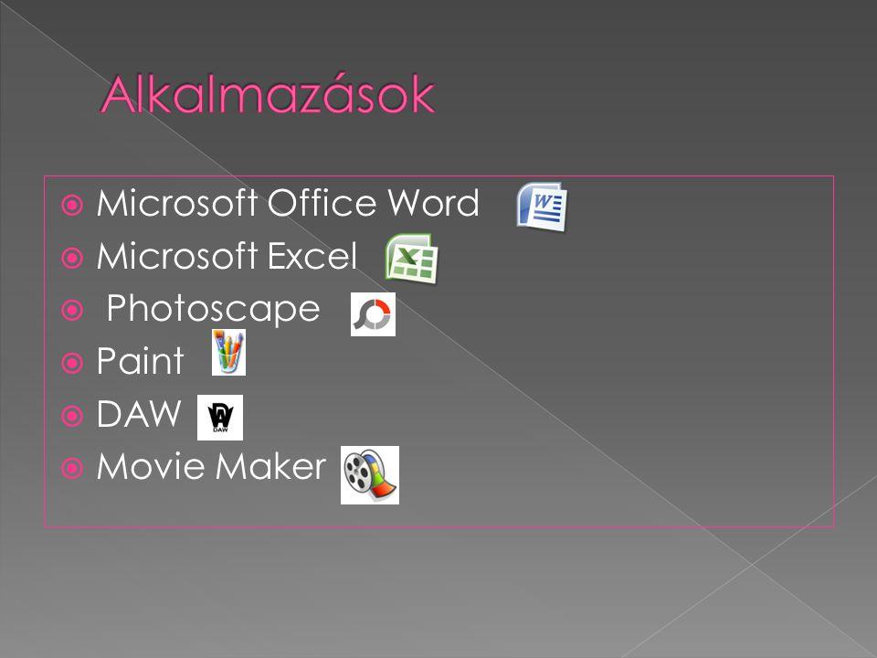 Alkalmazások Microsoft Office Word Microsoft Excel Photoscape Paint
