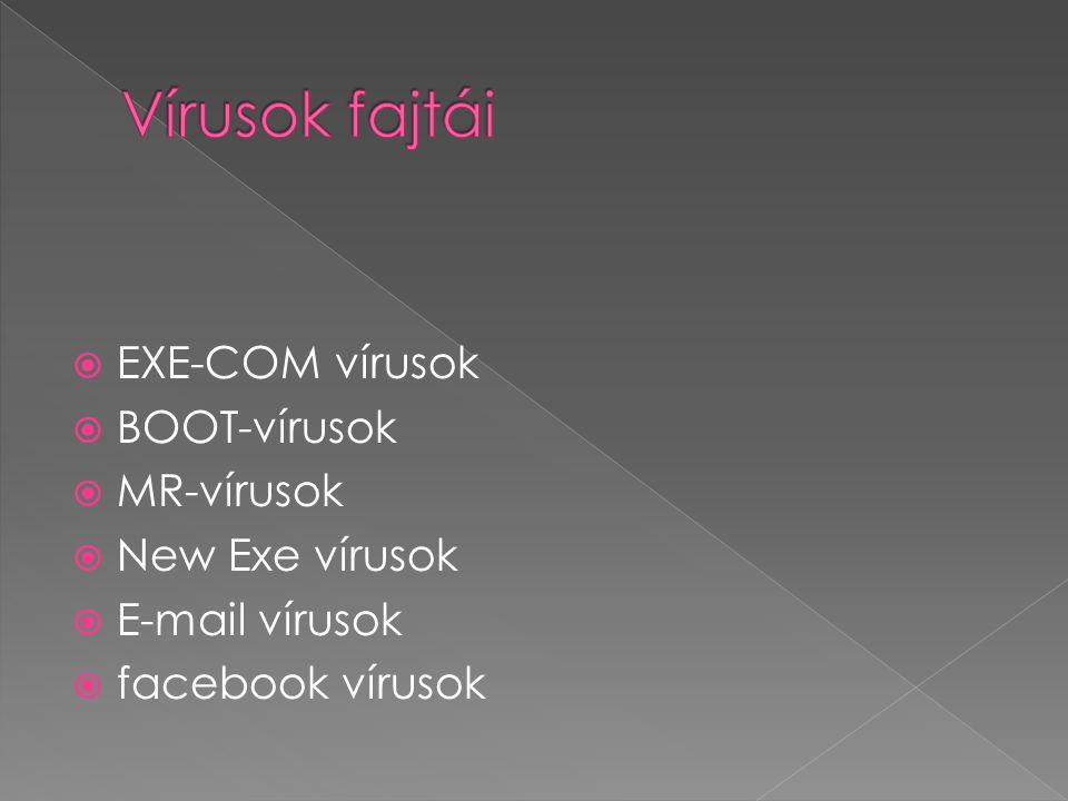 Vírusok fajtái EXE-COM vírusok BOOT-vírusok MR-vírusok New Exe vírusok