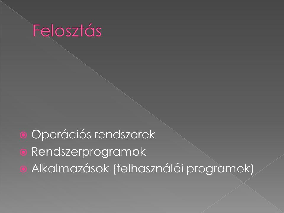 Felosztás Operációs rendszerek Rendszerprogramok