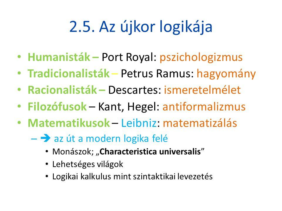 2.5. Az újkor logikája Humanisták – Port Royal: pszichologizmus