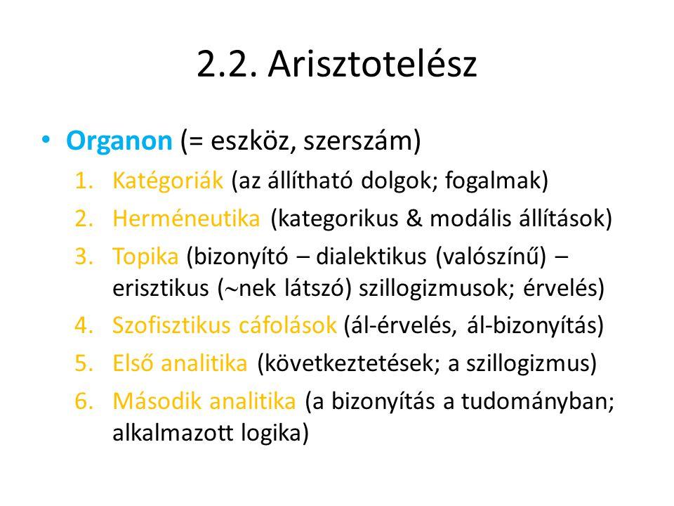 2.2. Arisztotelész Organon (= eszköz, szerszám)
