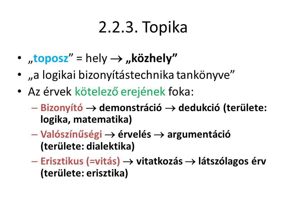 """2.2.3. Topika """"toposz = hely  """"közhely"""