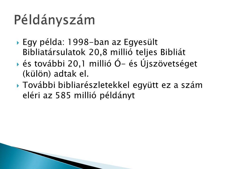 Példányszám Egy példa: 1998-ban az Egyesült Bibliatársulatok 20,8 millió teljes Bibliát.
