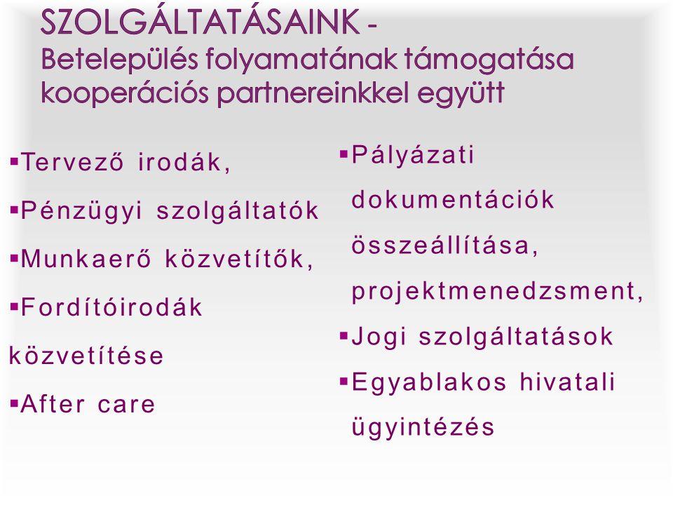 SZOLGÁLTATÁSAINK - Betelepülés folyamatának támogatása kooperációs partnereinkkel együtt