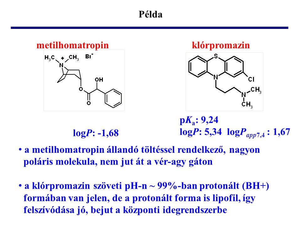 Példa metilhomatropin klórpromazin. pKa: 9,24. logP: 5,34 logPapp7,4 : 1,67. logP: -1,68.