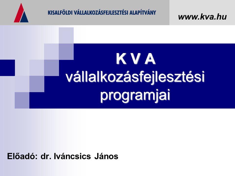 K V A vállalkozásfejlesztési programjai