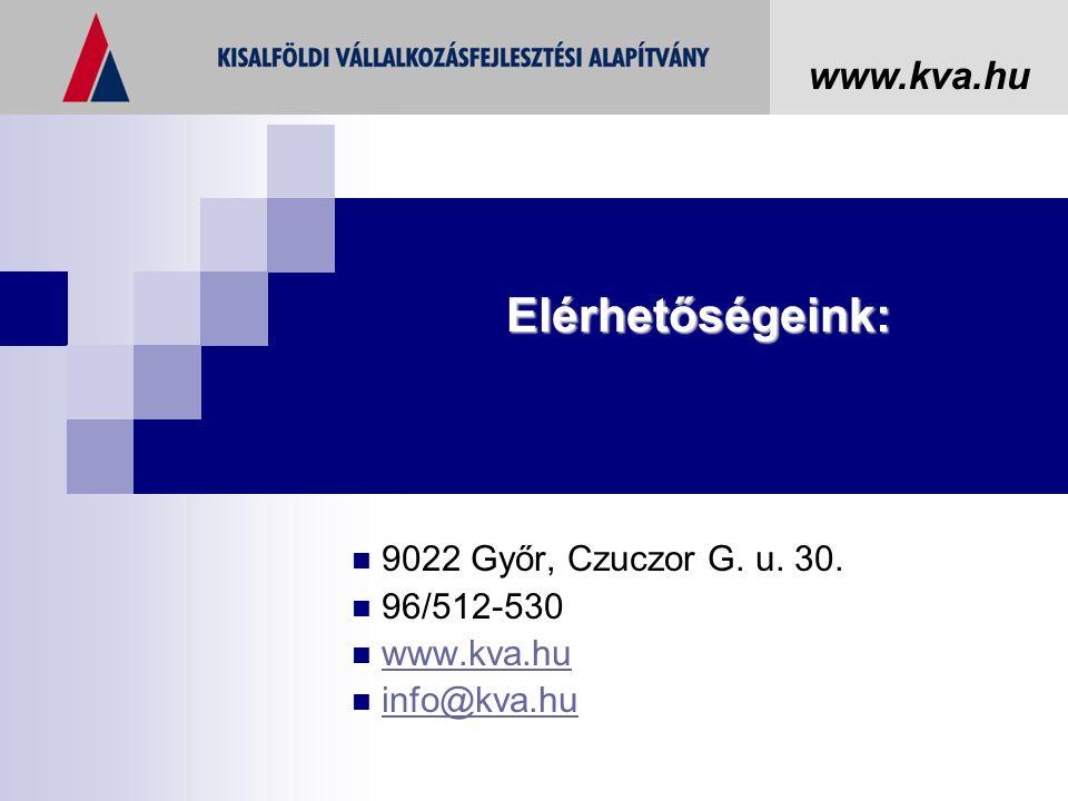 9022 Győr, Czuczor G. u. 30. 96/512-530 www.kva.hu info@kva.hu