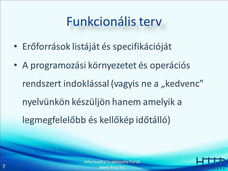 Funkcionális terv Erőforrások listáját és specifikációját