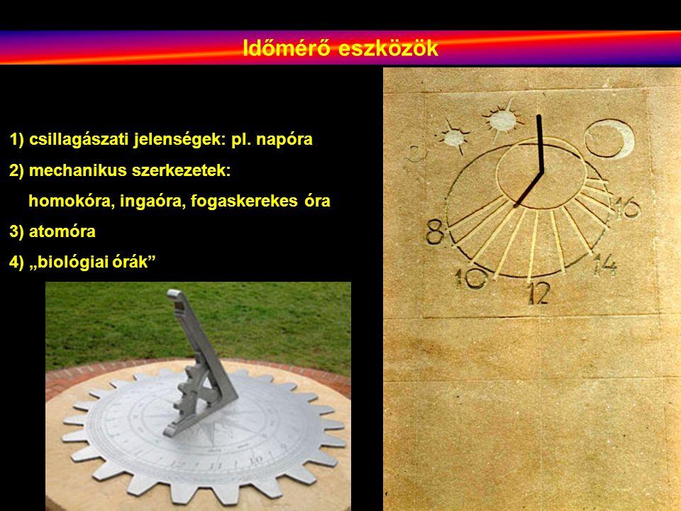 Időmérő eszközök 1) csillagászati jelenségek: pl. napóra