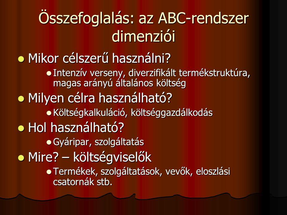 Összefoglalás: az ABC-rendszer dimenziói