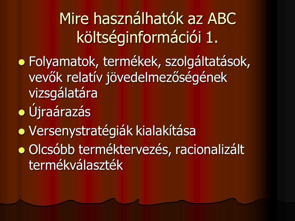 Mire használhatók az ABC költséginformációi 1.