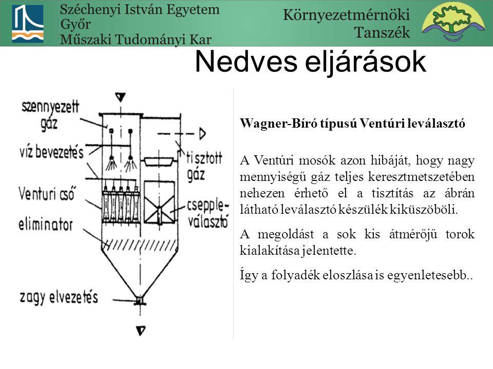 Nedves eljárások Wagner-Bíró típusú Ventúri leválasztó