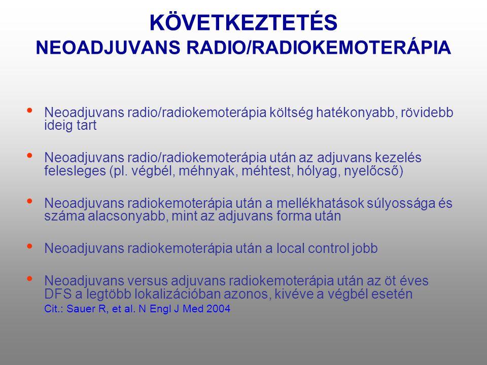 KÖVETKEZTETÉS NEOADJUVANS RADIO/RADIOKEMOTERÁPIA