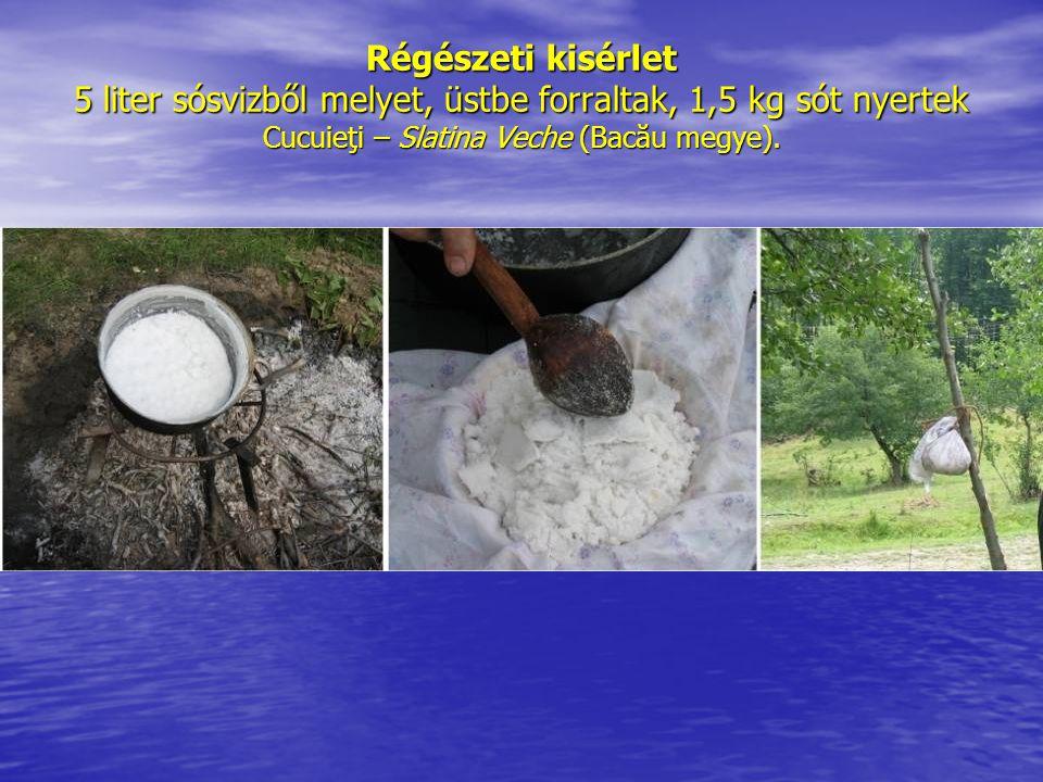 Régészeti kisérlet 5 liter sósvizből melyet, üstbe forraltak, 1,5 kg sót nyertek Cucuieţi – Slatina Veche (Bacău megye).