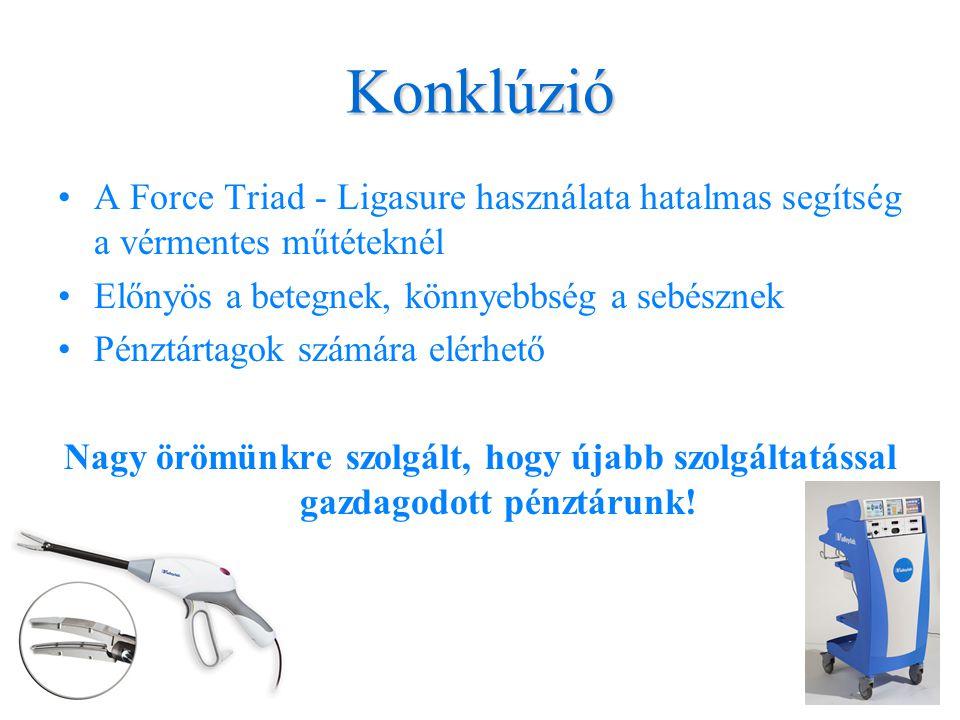 Konklúzió A Force Triad - Ligasure használata hatalmas segítség a vérmentes műtéteknél. Előnyös a betegnek, könnyebbség a sebésznek.