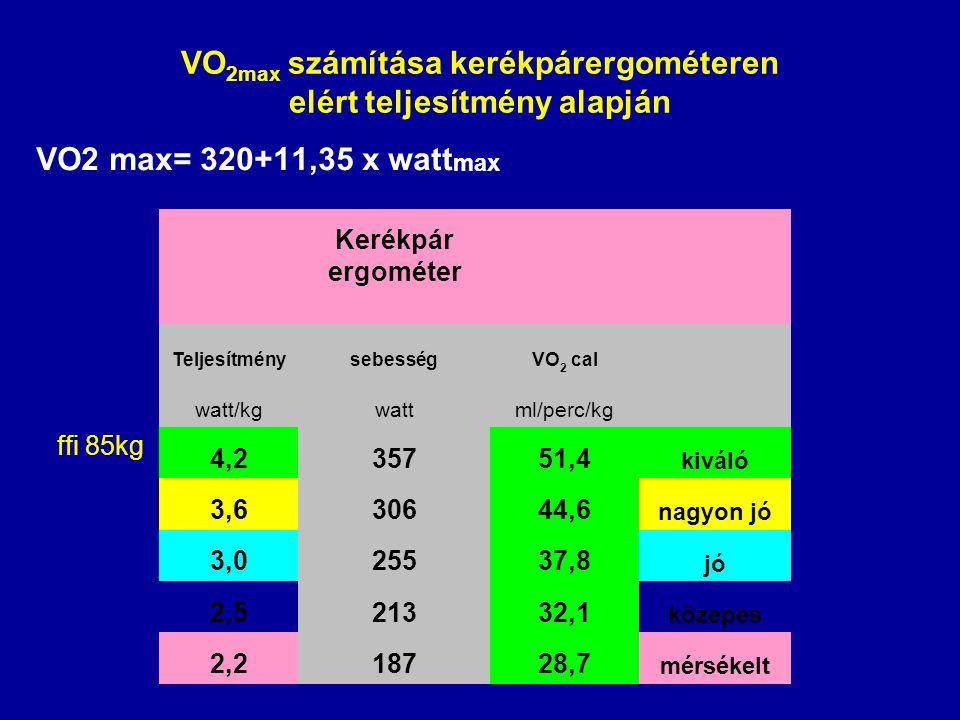 VO2max számítása kerékpárergométeren elért teljesítmény alapján
