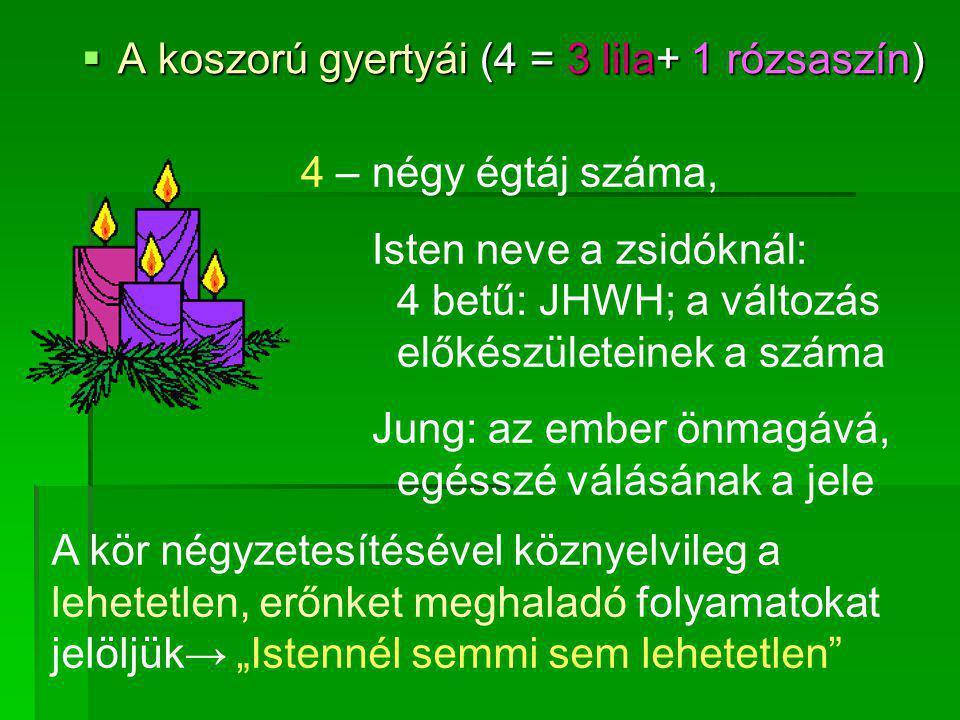 A koszorú gyertyái (4 = 3 lila+ 1 rózsaszín)