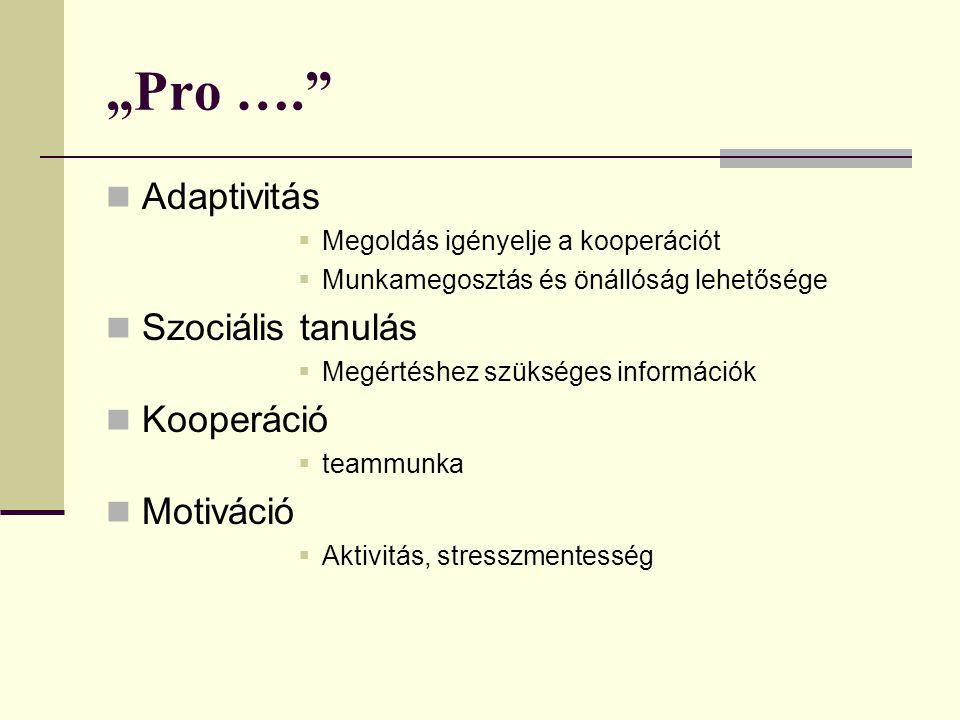 """""""Pro …. Adaptivitás Szociális tanulás Kooperáció Motiváció"""