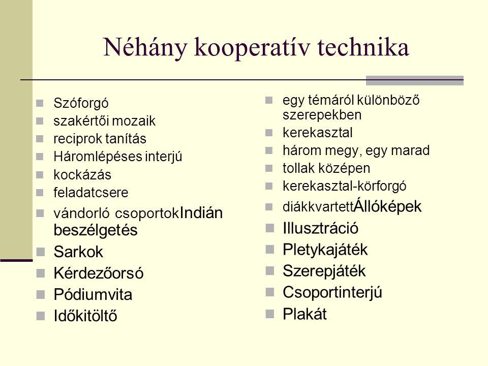Néhány kooperatív technika