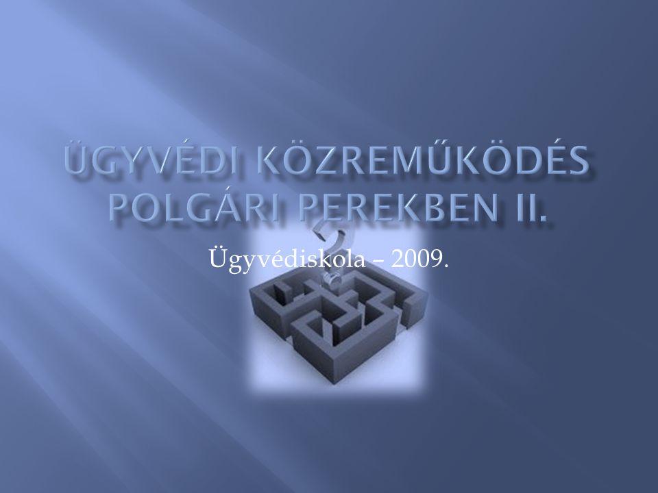 Ügyvédi közreműködés polgári perekben II.