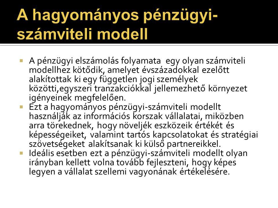 A hagyományos pénzügyi-számviteli modell