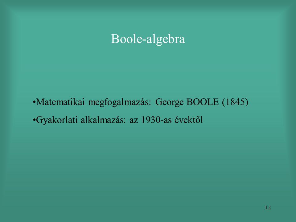 Boole-algebra Matematikai megfogalmazás: George BOOLE (1845)