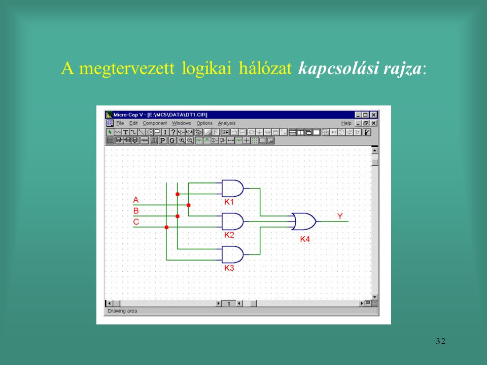 A megtervezett logikai hálózat kapcsolási rajza: